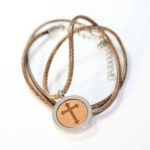 Kreuz Halskette mit Birnenholz