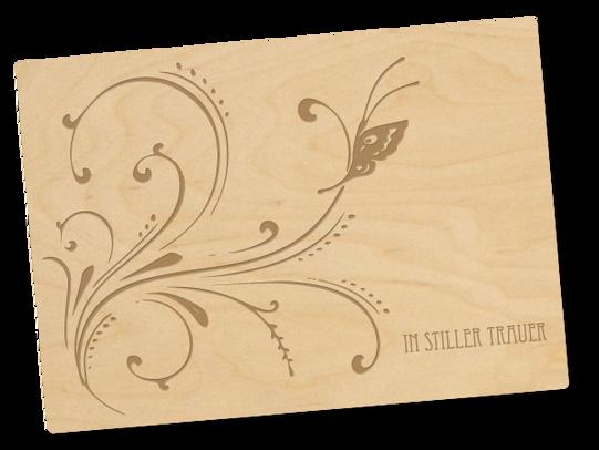 Holzpostkarte «trauer»