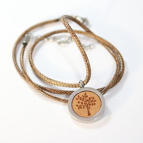 Lebensbaum Halskette mit Birnenholz