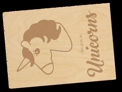 Holzpostkarte «Einhorn»