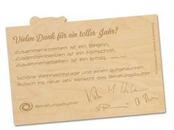 Holzpostkarte Beratungsbuffet