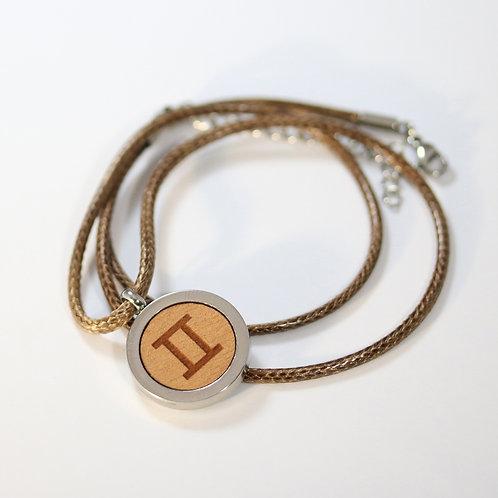 ZWILLING Sternzeichen Halskette mit Birnenholz