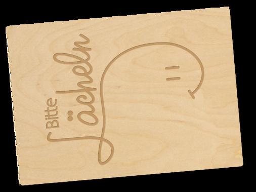 Holzpostkarte «Bitte Lächeln»