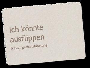 «ich könnte ausflippen» Schweizer Postkarte aus Recyclingkarton
