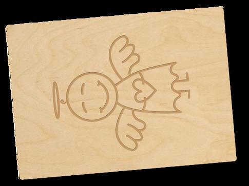 Holzpostkarte «Schutzengel»