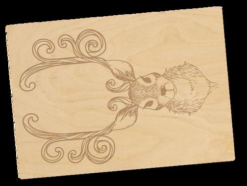 Holzpostkarte «Hirsch»