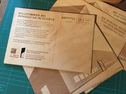 Werbeflyer aus Holz