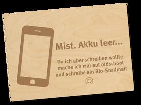 Holzpostkarte «Akku»