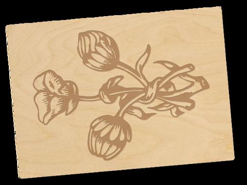 Holzpostkarte «Flowers»
