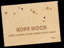 Holzpostkarte «Kopf hoch»