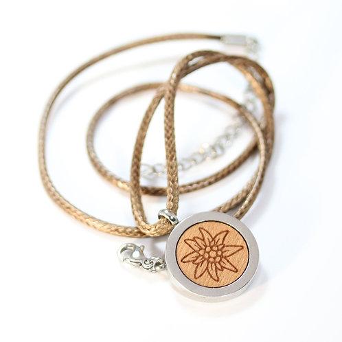 Edelweiss Halskette mit Birnenholz