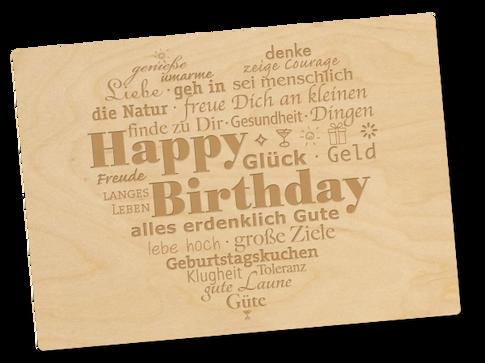 Holzpostkarte «Geburiherz»