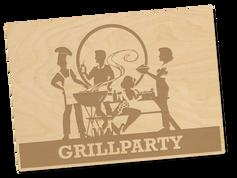 Holzpostkarte «grillparty»