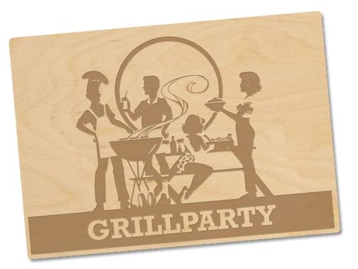Holzpostkarte «grillparty»