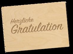 Holzpostkarte «gratulation»