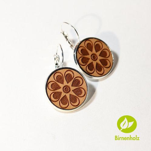Ohrringe mit Birnenholz «flower»