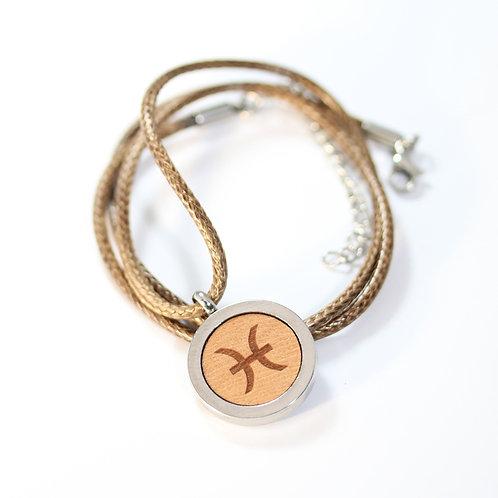 FISCH Sternzeichen Halskette mit Birnenholz