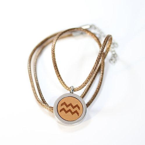 WASSERMANN Sternzeichen Halskette mit Birnenholz