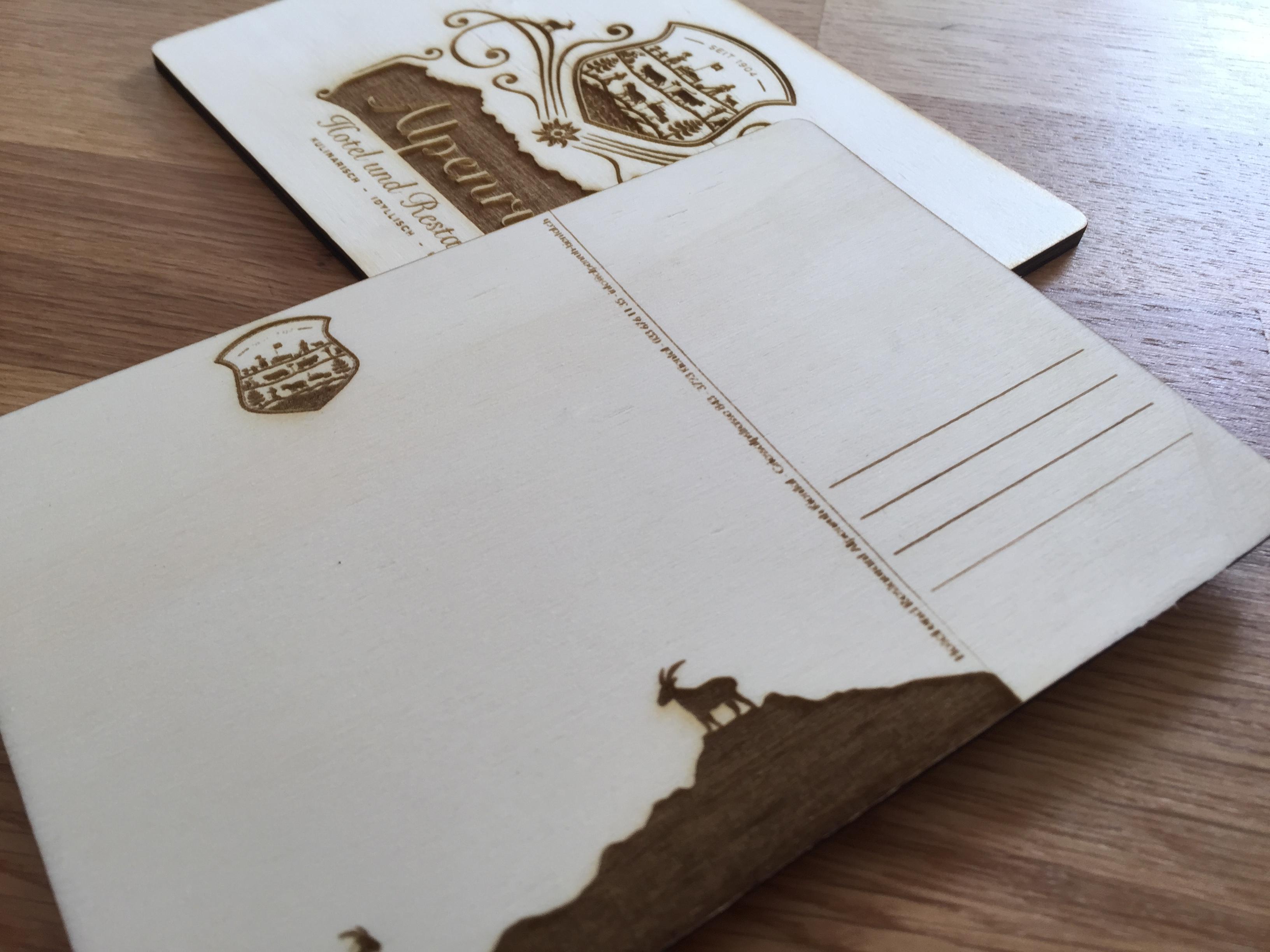 Holzpostkarte Alpenruh