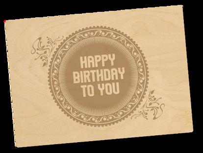 Holzpostkarte «happy birthday»