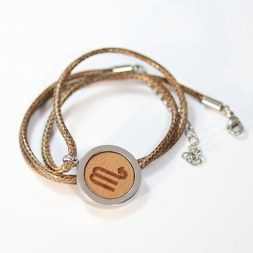 SCORPION Sternzeichen Halskette mit Birnenholz