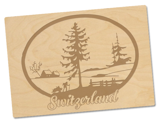 Holzpostkarte «switzerland»