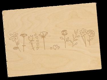 Holzpostkarte «Blumenwiese»