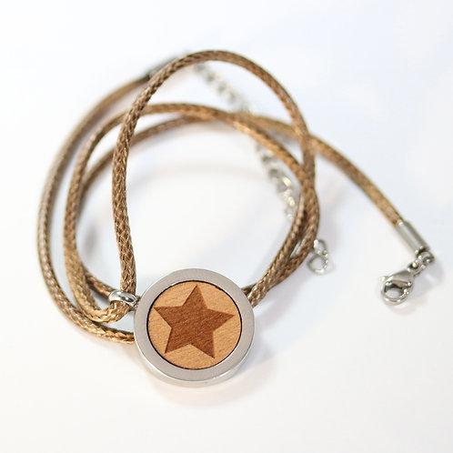 Stern Halskette mit Birnenholz
