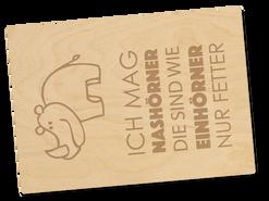 Holzpostkarte «Nashorn»