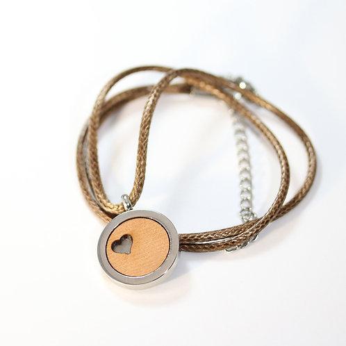 Herz Cut Halskette mit Birnenholz