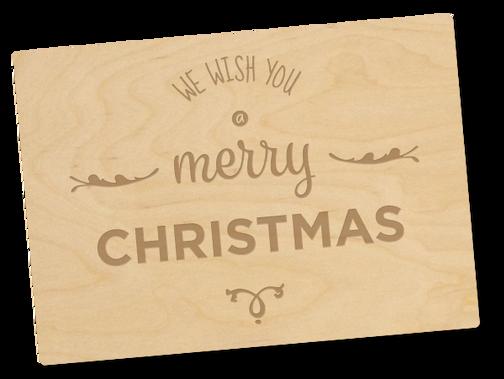 Holzpostkarte «merry christmas»