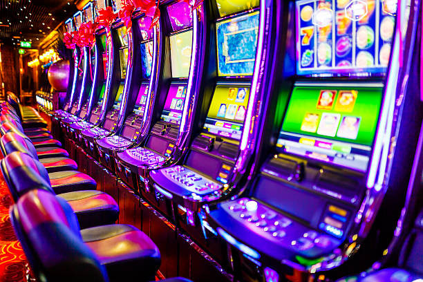 Row of Slot Machines at a Casino