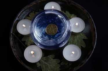Elemental Money Spell with Gold Pentagram Coin In The Center Blue Jar