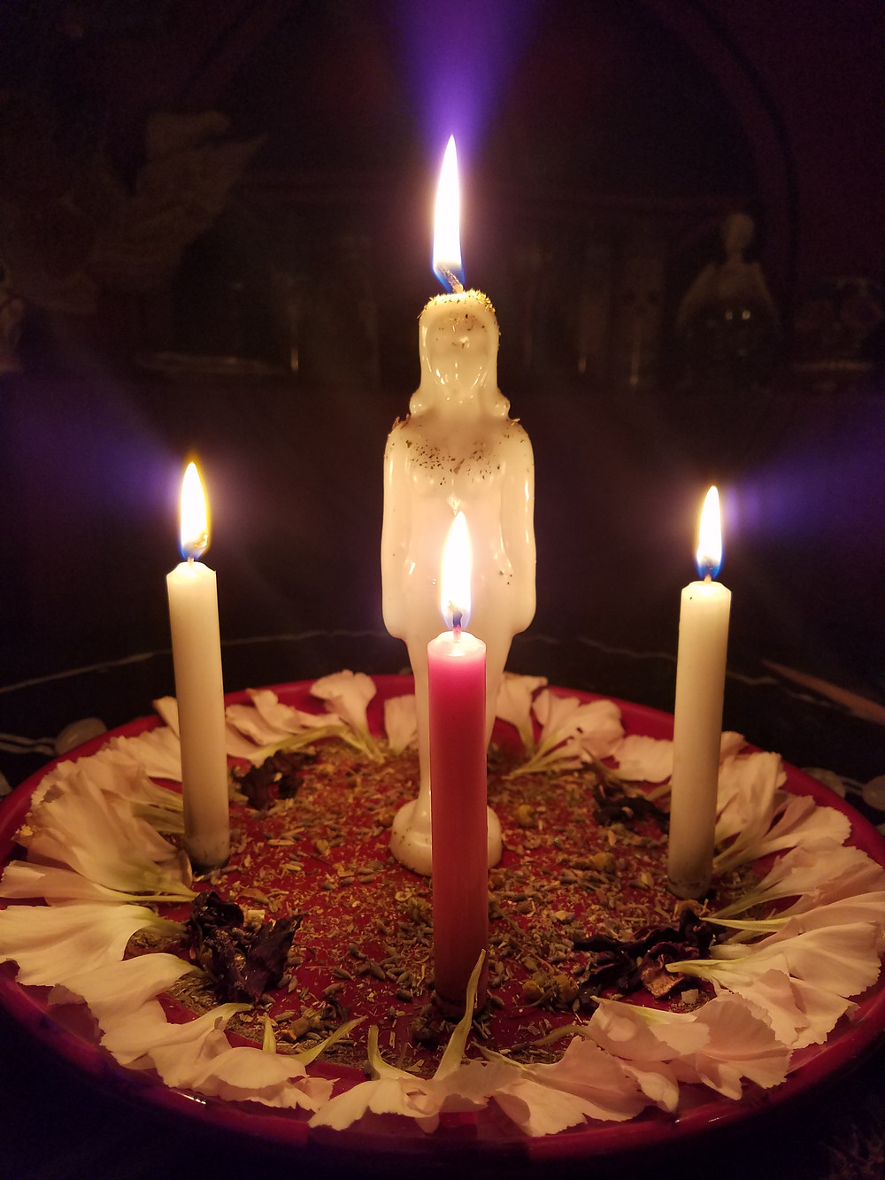 White female figure candle forgiveness spell