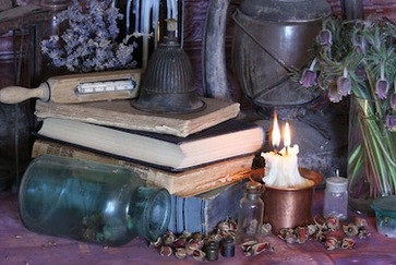 Books, Candle Magick, and Rose Buds