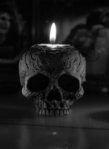 Black Decorative Skull Candle