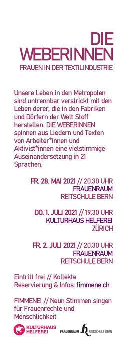 DIE WEBERINNEN_Fimmene in Bern und Zürich_2021