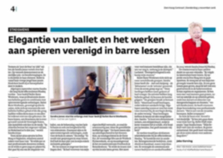 "Artikel in ""Den Haag Centraal"" over Ballet Barre Workouts Den Haag"