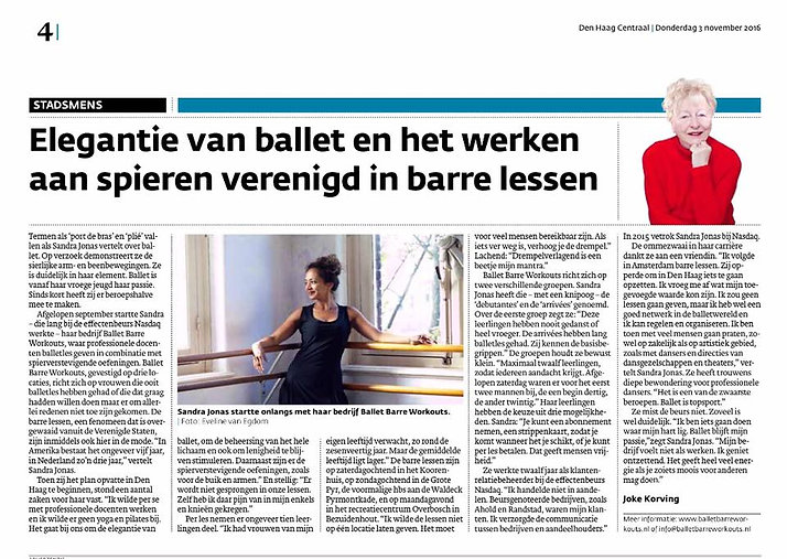 "Artikel in ""Den Haag Centraal"" over Ballet Barre Workouts Den Haag"