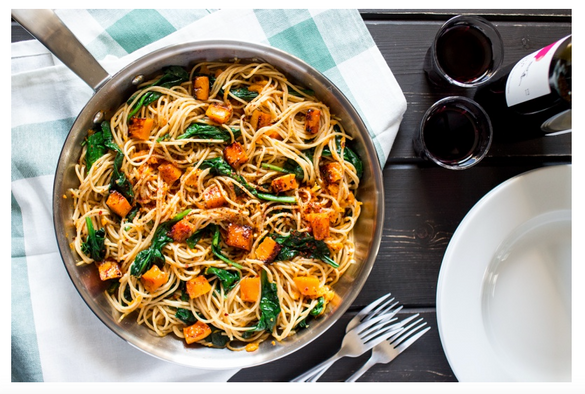 Vegan Pumpkin Pasta with Walnuts and spinach