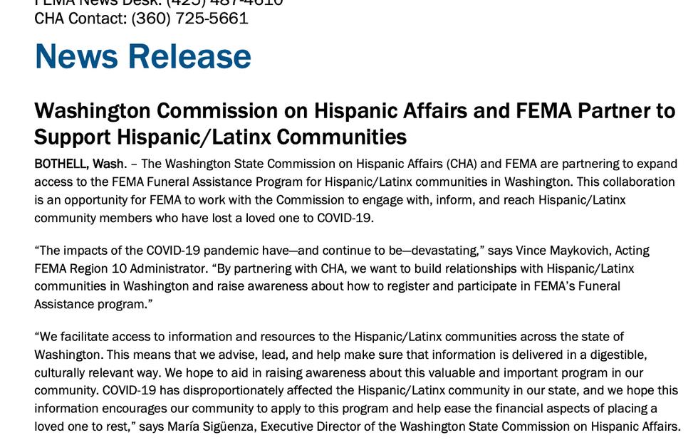 FEMA Partners to Support Hispanic/ Latinx Communities