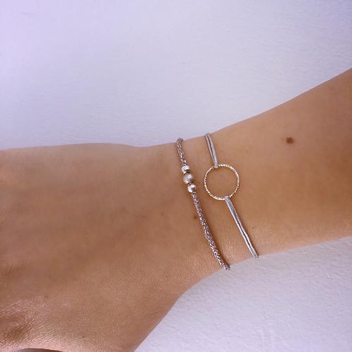 Silver circle lucky charm bracelet
