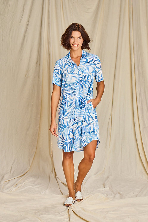 Linnen jurk met blauwe print Comme ça
