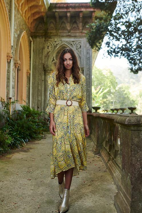 Lange gele jurk met paisley print Esqualo