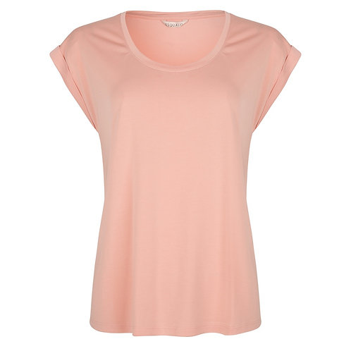 Effen t-shirt met ronde hals en korte mouw Esqualo roos-geel-turqoise