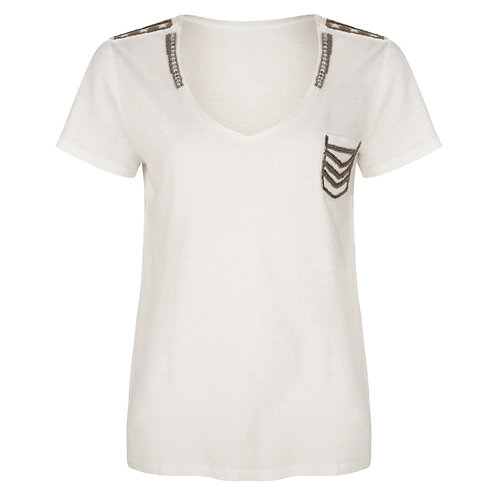 Witte t-shirt met military patches Esqualo