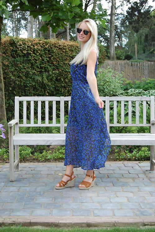 Bain de soleil jurk met blauw/groen bloemen