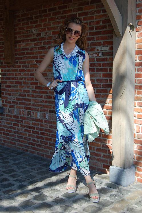 Lange azuurblauwe jurk zonder mouw met print Comme ca