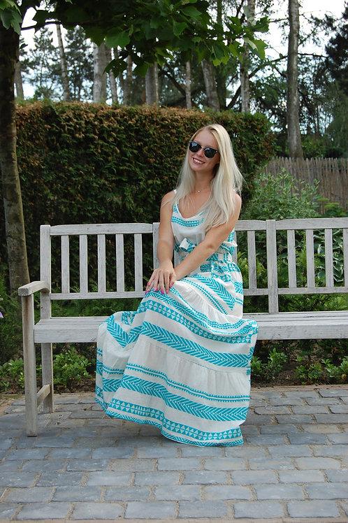 Lange jurk met Aztek print in turqoise