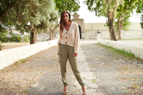 Glanzende groene broek met rekker onderaan de enkel van het merk Esqualo